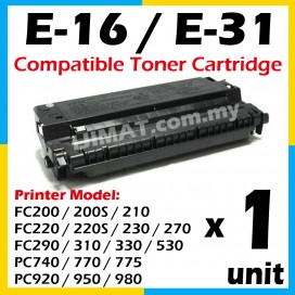 Canon Cartridge E16 / E-16 / E-31 / E31 High Quality Compatible Laser Toner Cartridge For Canon FC200 FC200S FC210 FC220 FC220S FC230 FC270 FC290 FC310 FC330 FC530 PC740 PC770 PC775 PC920 PC950 PC980 Printer