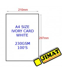 A4 Size Ivory Card 230gsm (White)