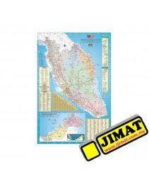 Bilingual World Map W Laminated X - 36 x 48 world map