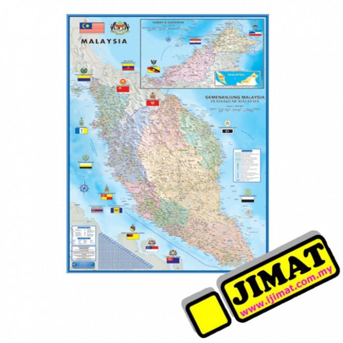 Map of Malaysia Large Peninsula Map M182 Laminated 28 x 40