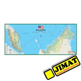 "The Physical Malaysia Map M202 (Laminated) (21"" x 58"")"