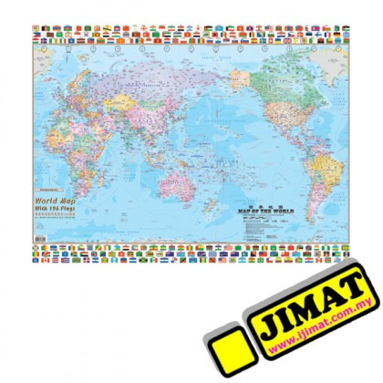 """World Map & Flags W118 (Laminated) (28"""" x 40"""")"""