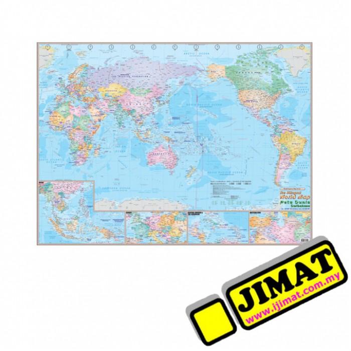 Bilingual World Map WM Magnetic X - 36 x 48 world map