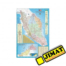 "Malaysia Road Map & Highway Guide M122M (Magnetic) (24"" x 36"")"