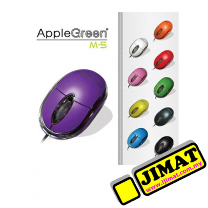 AppleGreen Optical Mouse M-5 (Wired) (Black / Dark Blue / Red / Orange / Light Blue / Pink / Purple)