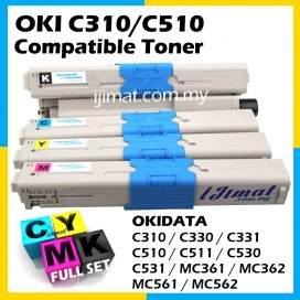 OKI Compatible Colour Laser Toner C310 / C330 / C331 / C510 / C511 / C530 / C531 / MC361 / MC362 / MC561 / MC562 Okidata Full Set Compatible Toner Cartridge (1 Set 4 units) BLACK + CYAN + MAGENTA + YELLOW