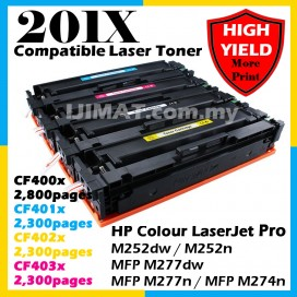 HP 201A / 201X / CF400A / CF401A / CF402A / CF403A / CF400X / CF401X / CF402X / CF403X HIGH YIELD Compatible Colour Laser Toner Black Cyan Magenta Yellow For HP Colour LaserJet Pro M252dw / M252n / MFP M277dw / MFP M277n / MFP M274n Printer