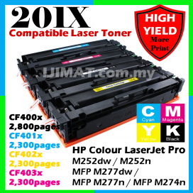 (B/C/M/Y) HP 201A 201X / CF400A CF401A CF402A CF403A / CF400X CF401X CF402X CF403X HIGH YIELD Compatible Colour Laser Toner Black / Cyan / Magenta / Yellow For HP Colour LaserJet Pro M252dw / M252n / MFP M277dw / MFP M277n / MFP M274n Printer Ink