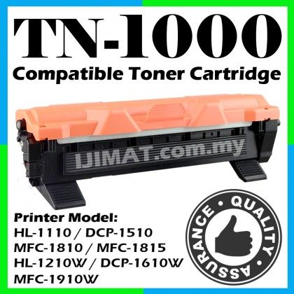 Brother TN1000 / TN-1000 Compatible Toner Cartridge For Brother HL-1110 HL1110 / DCP-1510 DCP1510 / MFC-1810 MFC1810 / MFC-1815 MFC1815 / HL-1210W HL1210W / DCP-1610W DCP1610W / MFC-1910W MFC-1910W Printer Ink