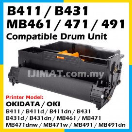 OKI Compatible Drum Unit OKI B431 / B411 / B411d / B411dn / B431d / MB461 / B431dn / MB471 / MB471w / MB471dnw / MB491 / MB491dn Okidata High Quality Compatible Drum Kit  (DRUM ONLY)