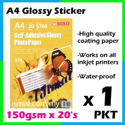 NISO Glossy Sticker A4 150g / Self-Adhesive Glossy Photo Paper A4 150gsm (20sheets)