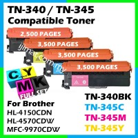 Brother TN340 / TN345 Compatible Full Set Laser Colour Toner Cartridge TN-340 Black + TN-345 Cyan + TN-345 Magenta + TN-345 Yellow For Brother HL4150CDN / HL4570CDW / MFC9970CDW Printer Toner