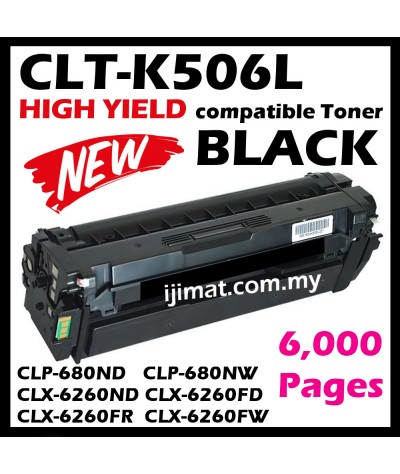 Samsung 506 / 506L / CLT-K506L Black + CLT-C506L Cyan + CLT-M506L Magenta + CLT-Y506L Yellow Compatible Color Laser Toner Cartridge For Samsung CLP-680 / CLP680 / CLP680ND / CLP680NW / CLX-6260 CLX6260 CLX6260ND CLX6260FD CLX6260FR CLX6260FW Printer Ink