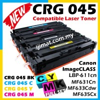 Canon 045 Full Set Cartridge 045 CRG045 / CRG 045 Black / CRG 045 Cyan / CRG 045 Yellow / CRG 045 Magenta Toner High Quality Compatible Colour Laser Toner Cartridge For Canon LBP-611cn / LBP611cn MF631Cn MF633Cdw / MF635Cx Printer Ink