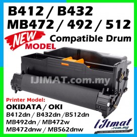 OKI Compatible Drum Unit OKI B412 / B432 / MB472 / MB492 / B512 / MB562 / B412dn / B432dn /B512dn / MB492dn / MB472w / MB472dnw / MB562dnw Okidata High Quality Compatible Drum Kit  (DRUM ONLY)