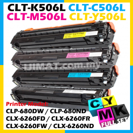 (FULL SET) Samsung 506s 506L CLT-K506L Black + CLT-C506L Cyan + CLT-M506L Magenta + CLT-Y506L Yellow Compatible Color Laser Toner Cartridge For Samsung CLP-680 CLP680 CLP680ND CLP680NW CLX-6260 CLX6260 CLX6260ND CLX6260FD CLX6260FR CLX6260FW Printer Ink