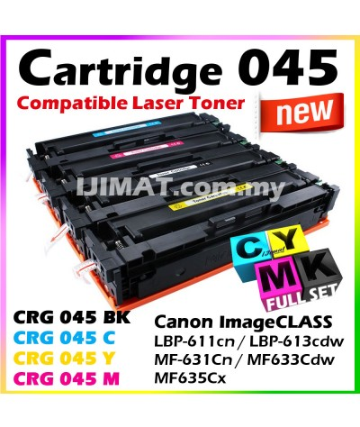 Full Set Canon 045 Cartridge 045 CRG045 / CRG 045 Black + CRG 045 Cyan + CRG 045 Yellow + CRG 045 Magenta Compatible Colour Laser Toner Cartridge For Canon LBP611 LBP611cn LBP613 LBP613cdw MF631 MF631Cn MF633 MF633Cdw MF635 MF635Cx Printer Ink