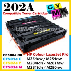 (FULL SET) HP 202A CF500 / CF500a + CF501a + CF502a + CF503a Compatible Toner Cartridge For HP Colour LaserJet Pro M254 / M254dw / M254nw / M284 / MFP M284fdn / M281 / MFP M281fdw / MFP M281fdn / M280 / MFP M280nw Printer Ink