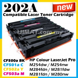 FULL SET HP 202A / CF500 / CF500a / CF501a / CF502a / CF503a Compatible Toner Cartridge For HP Colour LaserJet Pro M254 / M254dw / M254nw / M284 / M284fdn / M281 / M281fdw / M281fdn / M280 / M280nw Printer
