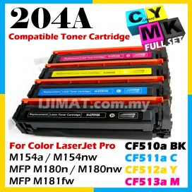 (FULL SET) HP 204A 510a CF510a + CF511a + CF512a + CF513a Compatible Toner Cartridge For HP Colour LaserJet Pro M154 / M154a / M154nw / M180 / MFP M180n / MFP M180nw / MFP M181fw Printer Ink