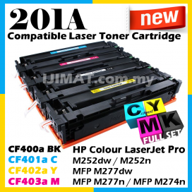 (FULL SET) HP 201A / CF400A Black + CF401A Cyan + CF402A Yellow + CF403A Magenta Compatible Colour Laser Toner For HP LaserJet Pro M252 / M252dw / M252n / M277 / MFP M277dw / MFP M277n / M274 / MFP M274n Printer Ink