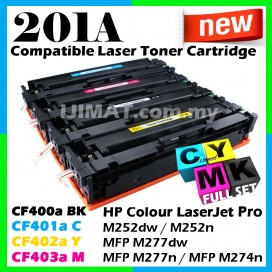FULL SET HP 201A / CF400A Black + CF401A Cyan + CF402A Yellow + CF403A Magenta Compatible Colour Laser Toner For HP LaserJet Pro M252 / M252dw / M252n / M277 / MFP M277dw / MFP M277n / M274 / MFP M274n Printer Ink