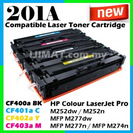 HP 201A / CF400A Black / CF401A Cyan / CF402A Yellow / CF403A Magenta Compatible Colour Laser Toner For HP LaserJet Pro M252 / M252dw / M252n / M277 / MFP M277dw / MFP M277n / M274 / MFP M274n Printer Ink