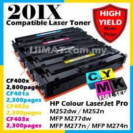 FULL SET HP 201A / 201X / CF400A / CF401A / CF402A / CF403A / CF400X / CF401X / CF402X / CF403X HIGH YIELD Compatible Colour Laser Toner Black Cyan Magenta Yellow For HP Colour LaserJet Pro M252dw / M252n / MFP M277dw / MFP M277n / MFP M274n Printer