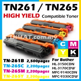 TN261 Black TN265 Cyan / Magenta / Yellow Brother TN-261 TN-265 High Yield Compatible Toner Cartridge For HL-3150CDN HL-3170CDW MFC-9140CDN MFC-9330CDW HL3150CDN HL3170CDW MFC9140CDN MFC9330CDW HL 3150CDN HL 3170CDW MFC 9140CDN MFC 9330CDW Printer Ink