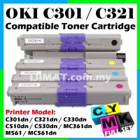 Full Set OKI Compatible Colour Laser Toner C301 / C321 / C330 / C510 / C530 / MC361 / MC561 / C301dn / C321dn / C330dn / C510dn / C530dn / MC361dn / M561 / MC561dn Okidata Compatible Toner Cartridge BLACK + CYAN + MAGENTA + YELLOW