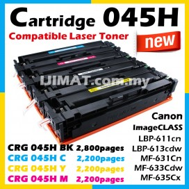 Canon 045 / 045H Cartridge 045 CRG045 / CRG 045H Black / CRG 045H Cyan / CRG 045H Yellow / CRG 045H Magenta Compatible Colour Laser Toner Cartridge For Canon LBP611 LBP611cn LBP613 LBP613cdw MF631 MF631Cn MF633 MF633Cdw MF635 MF635Cx Printer Ink