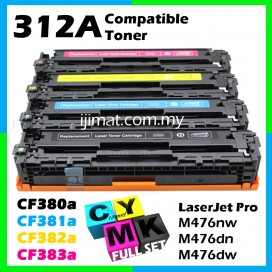 FULL SET HP 312A / CF380A + CF381A + CF382A + CF383A High Quality Compatible Tober Cartridge (Full Set 4 Units) For HP LaserJet Pro MFP M476nw / MFP M476dn / MFP M476dw Printer