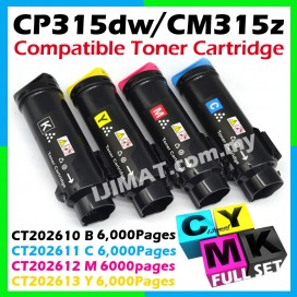 (FULL SET) Fuji Xerox DocuPrint 315 / CP315 / CM315 / CP315dw / CM315z Compatible Color Laser Toner Cartridge Black CT202610 + Cyan CT202611 + Magenta CT202612 + Yellow CT202613 (202610 / 202611 / 202612 / 202613 HIGH YIELD 6,000pages)