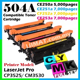 HP Compatible Colour Laser Toner 504A / CE250A Black + CE251A Cyan + CE252A Yellow + CE253A Magenta (Full Set 4 Units) Toner Cartridge For HP Color LaserJet CP3525 / CP3525n / CP3525dn / CP3525x / CM3530 / CM3530fs Printer