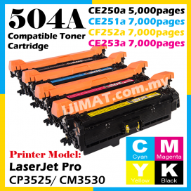 HP Compatible Colour Laser Toner 504A / CE250A Black / CE251A Cyan / CE252A Yellow / CE253A Magenta Toner Cartridge For HP Color LaserJet CP3525 / CP3525n / CP3525dn / CP3525x / CM3530 / CM3530fs Printer