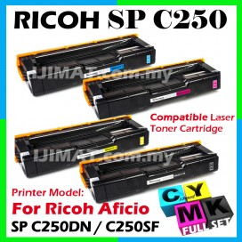 (FULL SET) Compatible Colour Toner Ricoh Aficio SP C250DN SPC250 SP C250 SPC250DN SPC 250 SP C250SF SPC250SF SP250 SPC250D Black Cyan Magenta Yellow Printer Ink