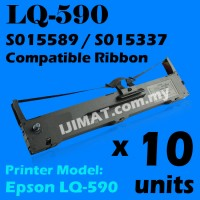 10 Units Epson LQ590 / LQ 590 / LQ-590 Dot Matrix Printer Ink Compatible Printer Ribbon S015589 / S015337