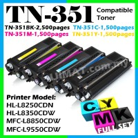 (FULL SET) BROTHER TN-351 / TN351 Black + Cyan + Magenta + Yellow Compatible Color Laser Toner Cartridge For L8250CDN HLL8250CDN L8250 / L8350CDW HLL8350CDW L8350 / L8850CDW MFCL8850CDW L8850 / L9550CDW MFCL9550CDW L9550 Printer Ink