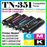 BROTHER TN-351 TN351 Black / Cyan / Magenta / Yellow Compatible Color Laser Toner Cartridge For L8250CDN HLL8250CDN L8250 / L8350CDW HLL8350CDW L8350 / L8850CDW MFCL8850CDW L8850 / L9550CDW MFCL9550CDW L9550 Printer Ink