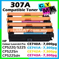 (FULL SET) HP 307A / CE740A CE740 / CE741A CE741 / CE742A CE742 / CE743A Ce743 Compatible Colour Laser Toner Black + Cyan + Magenta + Yellow For HP Color LaserJet Pro 5225 CP5225 HP CP5225n CP5225dn CP 5225 CP 5225n CP 5225dn Printer Ink