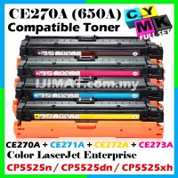 (FULL SET) HP CE270A + CE271A + CE272A + CE273A Compatible Colour Laser Toner for HP Color LaserJet Enterprise CP5525 / 5525 / CP5525n / CP5525dn / CP5525xh Printer Ink