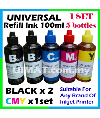 5 bottles x Universal Inkjet Printer Refill Ink, 5 x 100ml (2 x Black, 1 x Cyan, 1 x Magenta, 1 x Yellow) - Compatible with HP, Canon, Epson, Brother and Lexmark printer
