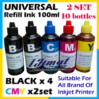 10 bottles x Universal Inkjet Printer Refill Ink, 10 x 100ml (4 x Black, 2 x Cyan, 2 x Magenta, 2 x Yellow) - Compatible with HP, Canon, Epson, Brother and Lexmark printer