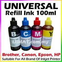 Universal Inkjet Printer Refill Ink 100ml Black / Cyan / Magenta / Yellow Compatible with HP, Canon, Epson, Brother and Lexmark Printer