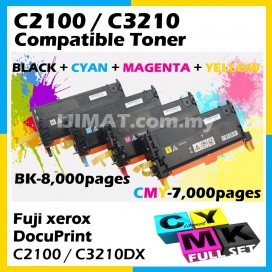 (FULL SET) Fuji Xerox DocuPrint C2100 / C3210DX / C3210 Printer (HIGH YIELD) Compatible Colour Laser Toner Cartridge CT350485 Black + CT350486 Cyan + CT350487 Magenta + CT360488 Yellow Printer Ink
