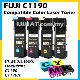 (FULL SET) Fuji Xerox C1190 / C1190FS High Quality Compatible Colour Laser Toner CT201260 Black + CT201261 Cyan + CT201262 Magenta + CT201263 Yellow Printer Ink
