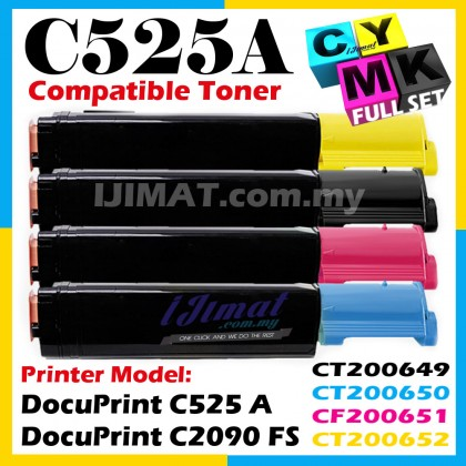 (FULL SET) Fuji Xerox C525A C525 A Compatible Colour Laser Toner Cartridge CT200649 CT 200649 Black + CT200650 CT 200650 Cyan + CT200651 CT 200651 Magenta + CT200652 CT 200652 Yellow For DocuPrint C525A C525 A / DocuPrint C2090 FS C2090FS Printer Ink