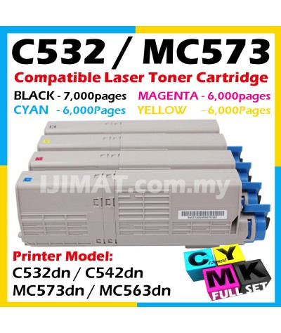 (FULL SET) Compatible Laser Toner Cartridge OKI C532 C542 MC573 MC563 For Okidata Color LaserJet C532dn C 532dn / C542dn C 542dn / MC573dn MC 573dn / MC563dn MC 563dn Printer Ink 46490612 BLACK + 46490609 CYAN + 46490610 MAGENTA + 46490611 YELLOW