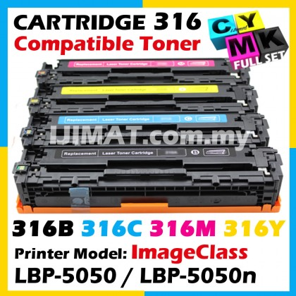 (FULL SET) Canon 316 Cartridge 316 CRG 316 Compatible Colour Laser Toner Cartridge For Canon LBP-5050 LBP5050 / LBP-5050N LBP5050N Printer Ink