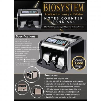 Biosystem Bank-588 Bank Money Note Counter Counting Machine Bank588 Bank 588